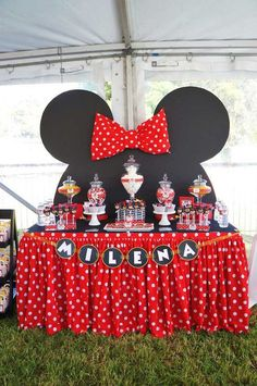"""Remember watching """"A Mickey Mouse Cartoon"""" and wishing your were Minnie Mouse for at least a day? You won't regret a Minnie Mouse quinceanera theme! Theme Mickey, Minnie Mouse Theme Party, Minnie Mouse 1st Birthday, Minnie Mouse Baby Shower, Mickey Mouse Parties, Mickey Party, 2nd Birthday, Disney Parties, Mickey Mouse Backdrop"""