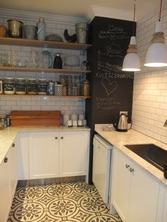 Wooden Shelving and Metro Tiles for kitchen and also love the floor - want kitchen spruced up