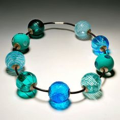 Michaela Maria Moeller, 9 Glass Bead Necklace blues