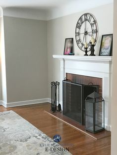 Benjamin Moore Edgecomb Gray, red brick fireplace, white mantel, greige paint colour. Kylie M Interiors E-design
