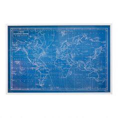 World map - blueprint style
