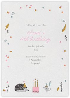 Forest Birthday Party - Hedgie - Paperless Post Little Cube