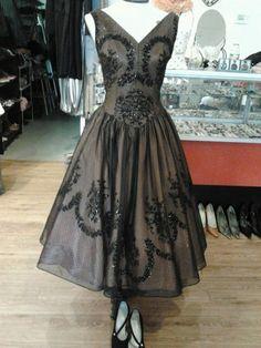 Vintage 1950s Black Sheer Illusion Party Dress