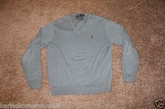 "Excellent used condition Polo Ralph Lauren Mens Blue 100% Pima Cotton Sweater Size Large Color is blueish green Purple pony Pit to Pit 23 1/2"" and from shoulder to hem 26""  Returns accepted if not 100% satisfied ( No hassle return policy) *Returned in same condition you received it in. *I pay for returned shipping if it is my fault *If it is your fault you pay for returned Shipping  FAST SHIPPING!!!"
