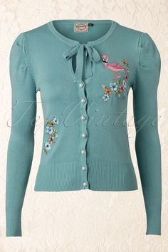 Banned - 60s Flamingo Cardigan in Vintage Green