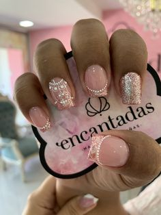 Pink Manicure, Rose Nails, Fancy Nails, Bling Nails, Gorgeous Nails, Pretty Nails, Nail Art Arabesque, Glow Nails, French Acrylic Nails