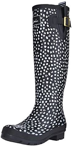 Joules Womens Wellyprint Rain Shoe Black Spot White 9 M US *** Click image to review more details.