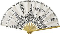 Pretty paper fan for bridal party pics - (comes in other colors) Black and White SAA Paper Fans (Tibetan flame motif)