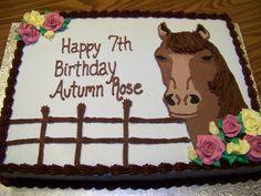 Horse Birthday Cake...haha I have a friend named atutmn rose.