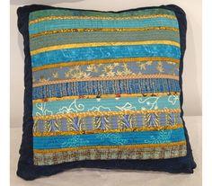 Teal and gold quilted pillow. Throw pillow. Beach decor. Accent pillow. Modern home decor. Overstuffed pillow. Handmade. 16x16 inches.
