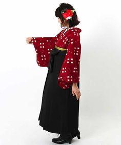 卒業式レンタルはかまフルセット卒業式袴 | 赤地に白の四角柄絣 黒袴