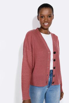 Button Up Cardigan - Ladies New In - What's New Lightweight Cardigan, Fashion News, Button Up, Knitwear, Knitting, Lady, Long Sleeve, Fabric, Sleeves