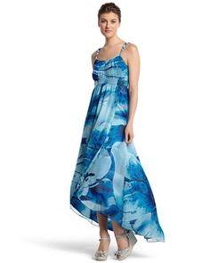 White House   Black Market Blue Floral Wrap Dress #whbm