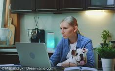 WFH, remote work. The perks of working from home. Cozy home office with lovely dog. Cozy Home Office, Home Photo, Commercial Design, Cozy House, Royalty Free Photos, Remote, 1, Image, Teamwork