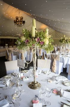 candelabra centrepieces hogarths hotel - candelabra tall centrepieces by Passion for Flowers -