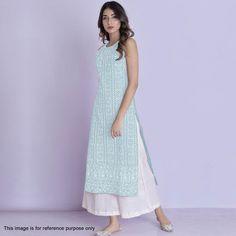 Harmonious Sky Blue Color Glace Cotton With Multi Work Kurti With Plazzo Simple Kurta Designs, Kurta Designs Women, Indian Designer Outfits, Indian Outfits, Indian Clothes, Casual Indian Fashion, Women's Fashion, Dress Indian Style, Indian Wear