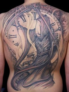 38 Grim Reaper with Clock Tattoo