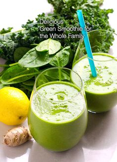 Delicious Green Smoothie Recipe for the Whole Family -- Make a smoothie every other day for yourself and your kids, avoid many diseases forever. Step by step photos, super simple. #cleaneating #vegan #plantbased #glutenfree