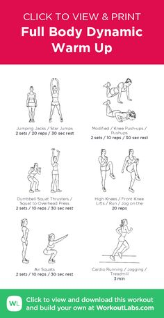 Full Body Dynamic Warm Up – click to view and print this illustrated exercise plan created with #WorkoutLabsFit