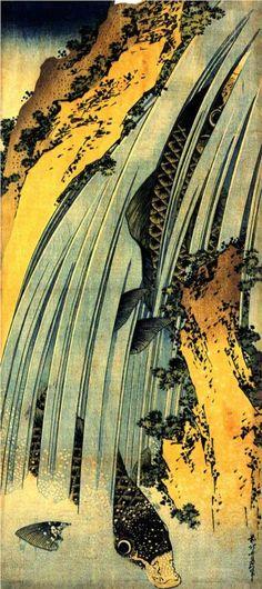 Katsushika Hokusai -Two Carp in Cascade