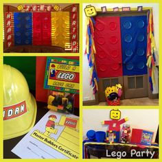 Zekes 8th Bday Lego Party!  Photo booth area, build a race car activity, guess how many legos, living room decorations.