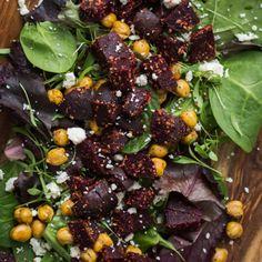 Crispy Chickpea and Za'atar Beet Salad | @naturallyella