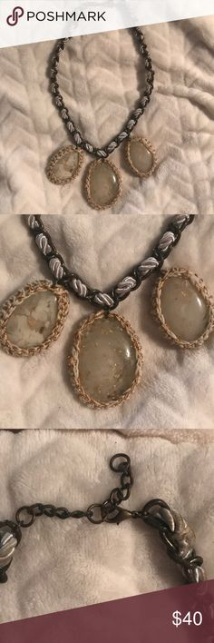 Anthropologie stone necklace Great neutral necklace! Three large stones and cute braided chain Anthropologie Jewelry Necklaces