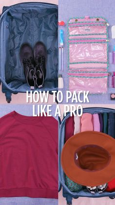 Traveling this weekend? Become a pro packer with these handy tips! packing tips How To Pack Like A Pro Suitcase Packing Tips, Travel Packing Checklist, Travel Bag Essentials, Packing Tips For Vacation, Road Trip Packing, Road Trip Essentials, Road Trip Hacks, Vacation Trips, Luggage Packing