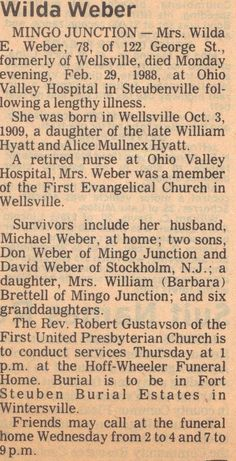 Wilda Weber Obit - Photos and Stories — FamilySearch.org. Mike's Aunt.