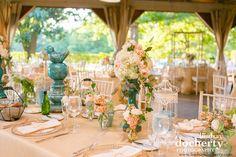 peach color table centerpieces   Copyright Lindsay Docherty Photography http://www.lindsaydocherty.com