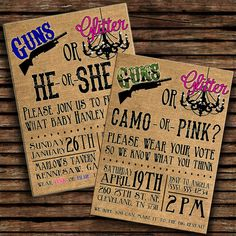 Guns or Glitter (with CAMO or PINK option) - Gender Reveal Party Invitation
