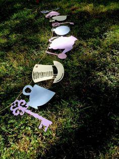 alice in wonderland, vintage, tea party, shower, birthday bunting, banner | eBay
