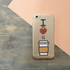 Clear TPU Case Cover - I Love Coffee