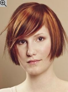 Easy going bob with bangs and light texture in the tips. Marbled effect hair coloring.