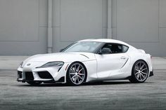 The world's first Supra with Vossen Wheels by Graphite Polished Front & Rear Suspension: KW Coilovers —————————— Contact an authorized dealer for inquiries! New Toyota Supra, Toyota Avensis, Toyota Celica, Mk1, James Bond, Car Parts And Accessories, Weird Cars, Crazy Cars, Car Vector