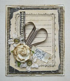 Shabby Black & Cream Card...bow is in shape of a heart with inked rose.