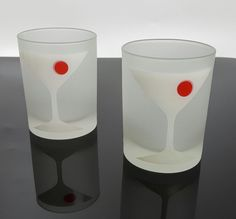 Georges Briard double old fashioned bar glasses Manhattan cocktail design pair