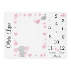Personalized pink and gray elephant blanket with added matching flowers and hearts for baby girl milestone monthly photo picture prop. Take monthly photos of the baby on the blanket, marking the months as baby grows. Elephant Nursery Girl, Elephant Baby Blanket, Baby Girl Blankets, Girl Nursery, Nursery Ideas, Nursery Decor, Bedroom Girls, Boho Nursery, Nursery Room