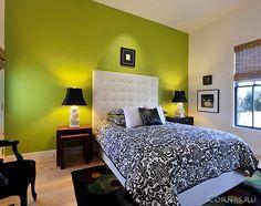 Спальня в зеленых тонах фот