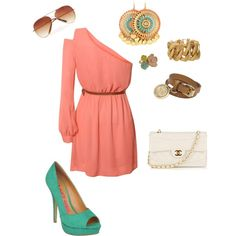 Pretty coral & Turquoise, created by acreed