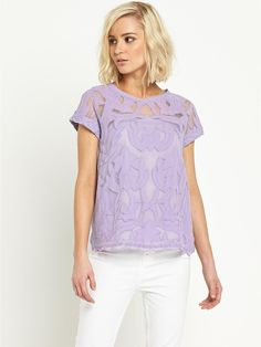 River Island Lace T-Shirt - Lilac | very.co.uk