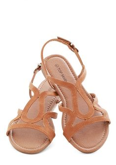 Cafe Circuit Sandal - Flat, Faux Leather, Tan, Solid, Cutout, Beach/Resort, Summer, Good, Strappy, Casual