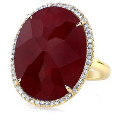 14KT Yellow Gold Ruby Diamond Oval Cocktail Ring ($1,560) ❤ liked on Polyvore featuring jewelry, rings, accessories, jewels, anel, statement rings, ruby ring, yellow gold cocktail rings, oval diamond ring and gold statement ring