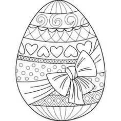 Doodle coloring book page easter egg with bow. Anti-stress coloring for adults and children Easter Egg Coloring Pages, Coloring Book Pages, Easter Art, Easter Crafts, Easter Ideas, Kids Crafts, Printable Adult Coloring Pages, Doodle Coloring, Easter Colors