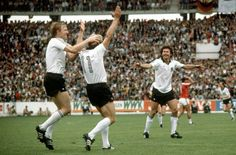 West Germany 4 Chile 1 in 1982 in Gijon. Karl-Heinz Rummenigge scores again on 66 minutes to complete his hat-trick in Group 2 at the World Cup Finals.