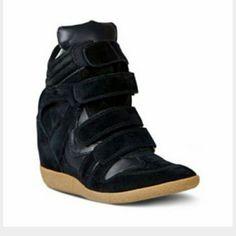 Steve Madden Hilight Black Wedge Sneakers