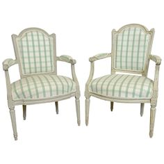 1stdibs   A Pair of Antique Swedish Gustavian Painted Armchairs early 19th Century