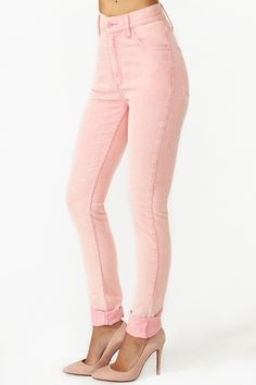 Second Skin Jeans in Pink Corduroy