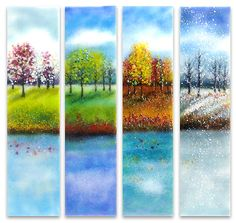 """Four Seasons Glass Wall Art"" art glass wall art created by artist Anne Nye. The four seasons are depicted in dramatic lakefront landscapes in kiln-formed glass. Glass Wall Art, Sea Glass Art, Stained Glass Art, Fused Glass, Window Glass, Blown Glass, Tree Wall Art, Tree Art, Four Seasons Art"