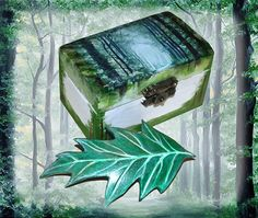 The Forest - Hand painted wooden jewellery box and Hand tooled leather hair barrette slide, nature art, jewellry storage, leaf hair clip